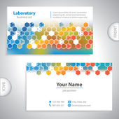 Universal orange-blue medical laboratory business card. — Stockvektor