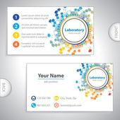 Universal orange-blue laboratory business card. — Stock Vector