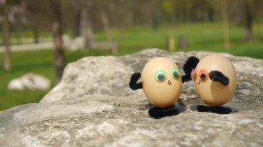 Climbing funny eggs — Stock Video