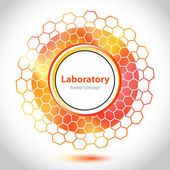 Abstract orange-red medical laboratory circle element. — Stock Vector