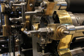 Old printing press, mechanical gears — Stock Photo