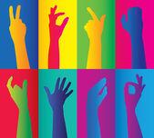 красочные кластеры рук — Cтоковый вектор