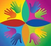 цветные руки в круге — Cтоковый вектор