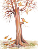 Birds fly among the branches — Stock Photo