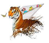 Tiger splash with children on airplane — Foto Stock