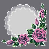 Flower frame. Roses — Vector de stock