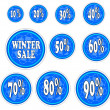 Winter sale stickers. — Stock Vector