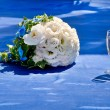 Stock Photo: Beautiful bouquet of bride and wine glasses