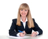Ung affärskvinna vid bord — Stockfoto