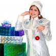 The Snow Maiden with gifts for Christmas — Stock Photo