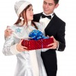 Snow Maiden gives the presents for Christmas — Stock Photo #35051781