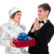 Snow Maiden gives the presents for Christmas — Stock Photo