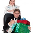 Stock Photo: Snow Maiden gives the presents for Christmas