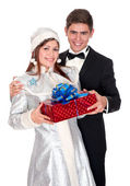 Snow Maiden gives the presents for Christmas — Foto Stock