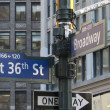 Thirty Six and Broadway Street Signs in New York City — Stock Photo