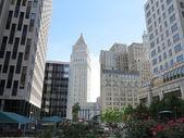 Foley quadrat anzeigen new york city moderner und historischer architektur gebäude — Stockfoto