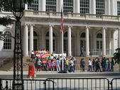 Labor Protest On City Hall Steps In New York City — Foto Stock