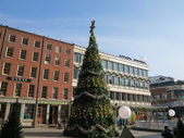 Christmas Tree Decorated for 2013 at South Street Seaport In New York — Stock Photo