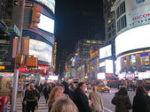Time Square Area at Night In New York City — Stock Photo