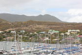 Yachts and Sailboats sit idle at Oyster Pond in St. Martin while a sudden tropical storm moves in — Stock Photo