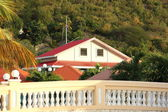 Colorful bridge and buildings welcome visitors and locals to Philipsburg St. Martin — Stock Photo