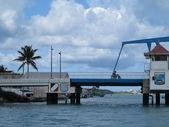 The little blue drawbridge at Simpson Bay in St. Maarten — Stock Photo