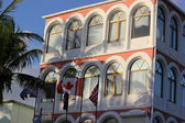 Colorful Creole or Spanish Architecture Hotel bordering Great Beach in Philipsburg St. Maarten — Stock Photo