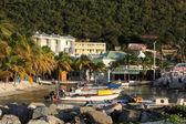 Greenhouse Restaurant in Philipsburg St. Maarten looking out towards boat slip — Stock Photo