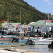 Motor Boats and Yachts in distance near water taxi area of Great Beach in Philipsburg St. Maarten — Stock Photo #42923375