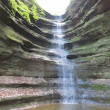 Waterfall in Spring at French Canyon in Starved Rock State Park, Illinois — Stock Photo #48236285