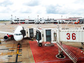 Thailand, transport passenger airplane near the terminal in an a — Stock Photo