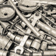 Collection spanner and wrench repair tool spare parts used in ca — Stock Photo