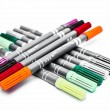 Set colour pens school isolated close up on white background — Stock Photo #40898267