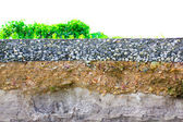 Damage the asphalt road cut of soil layer with different visible — Stock Photo