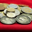 A collection of various currencies coin from countries the globe — Stock Photo #45259627