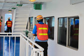 Officer maintenance man on ferry koh samui travel, thailand — Stock Photo