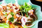 Steam squid eggs salad with spicy lemon juice soup, samui thaila — Stock Photo