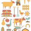 Card with farm related items — Stock Vector
