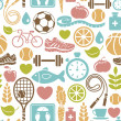 Seamless pattern with healthy lifestyle icons — Stock Vector
