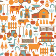 Stock Vector: Seamless pattern with farm related items