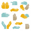 Hands vector set — Stock Vector