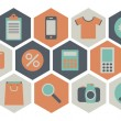 Set of on-line shopping icons — Imagens vectoriais em stock