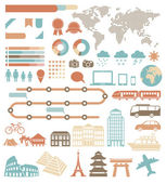 Tourism infographic set with colorful icons. Vector design elements — Stock Vector