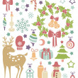 Vector card with christmas icons — Stock Vector