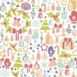 Stock Vector: Seamless background with christmas icons