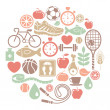 Round card with healthy lifestyle icons — Stock Vector
