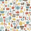 Seamless pattern with colorful cooking icons — Imagens vectoriais em stock