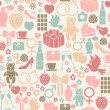 Stock Vector: Seamless pattern with colorful valentines day icons