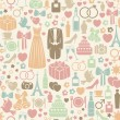 Seamless pattern with colorful wedding icons — Stock Vector