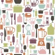 Seamless pattern with colorful cooking icons — Stock Vector